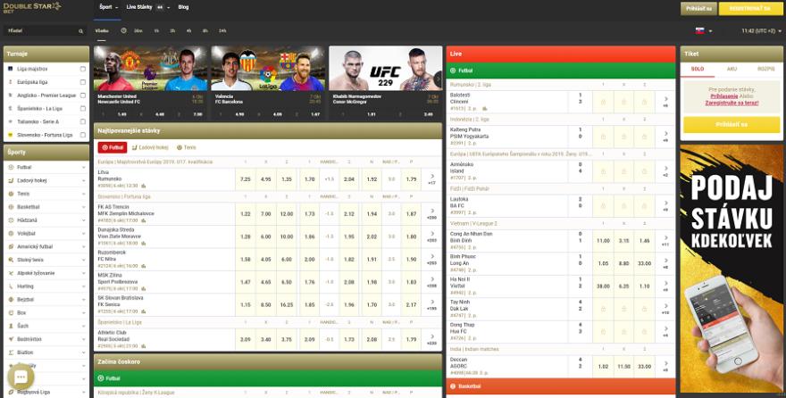 Pohľad na úvodnú stránku DoubleStar Bet